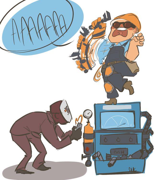 engineer vs spy. team fortress.