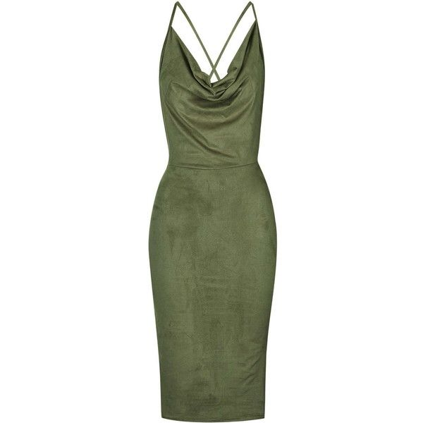 **Faux Suede Cowl Neck Dress by Rare ($60) ❤ liked on Polyvore featuring dresses, vestidos, green, khaki, cowl neck dress, midi dress, green midi dress, body conscious dress and mid calf cocktail dresses