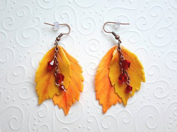 maple leaves jewelry with leaves Polymer clay jewelry autumn leaves Set Earrings and bracelet with autumn leaves bright jewelry