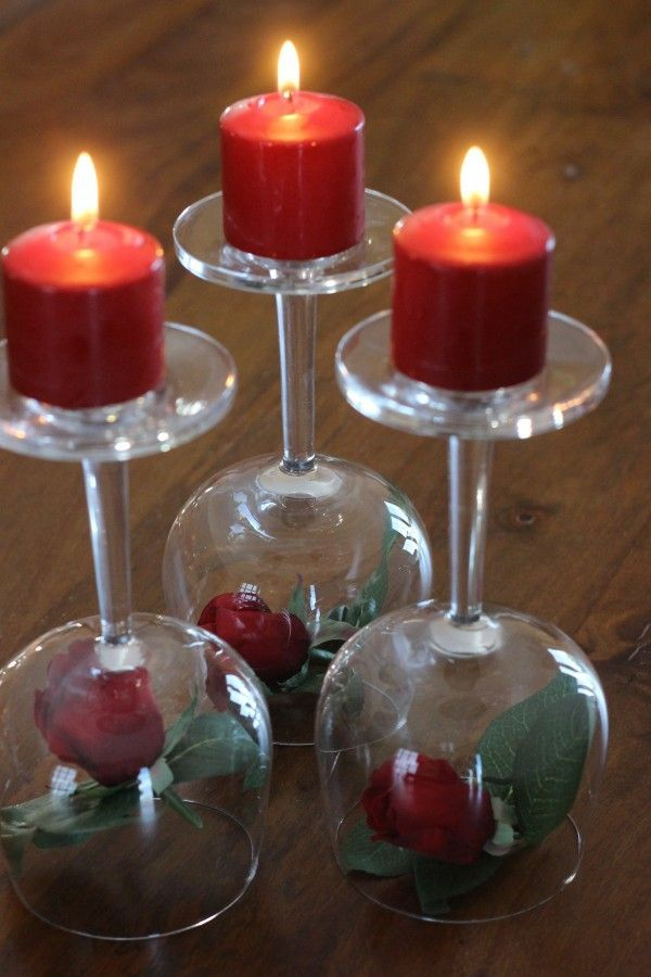 Valentine's Day Centerpiece- Roses, wineglasses & candles
