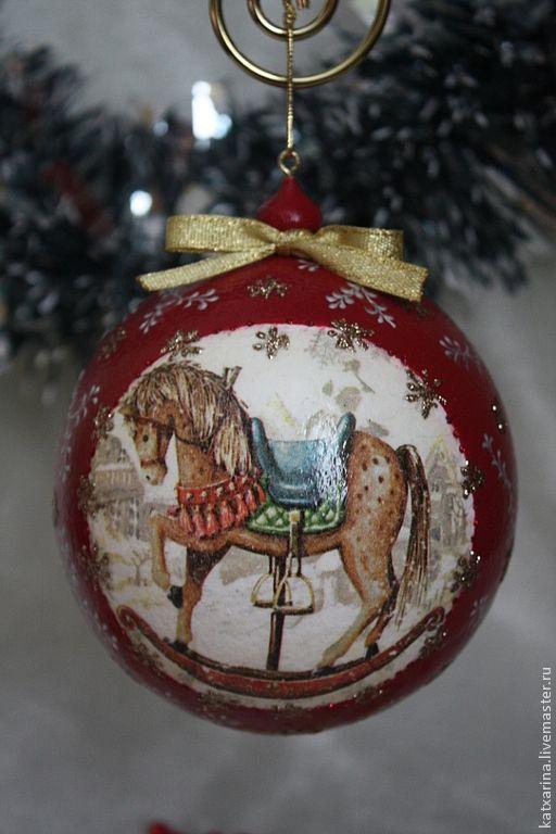 """Купить Елочный шар """"Конь"""" - ярко-красный, елочные игрушки, елочный шар, елочные украшения"""