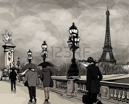 Drawing of a view of Alexander III bridge in Paris showing Eiffel tower  Nightfall  on a rainy autumn-winter day