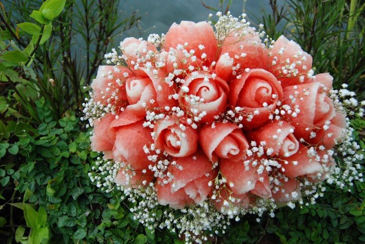Carved Watermelon Floral Wedding Bouquet ~ Tools & Tutorials for Fruit Carving