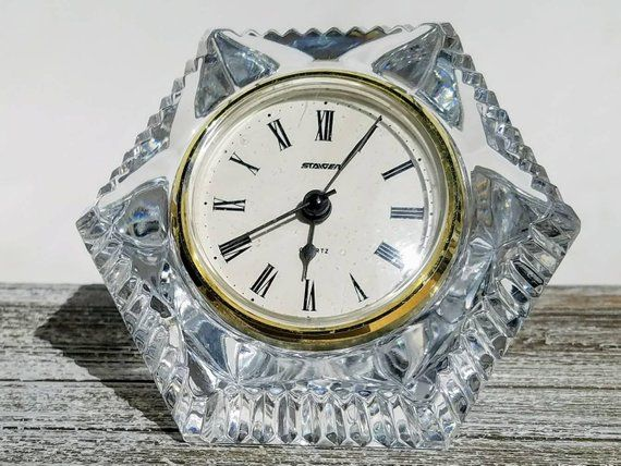 Opulent Vintage Desk Clock Small Lead Crystal Clock Vintage French