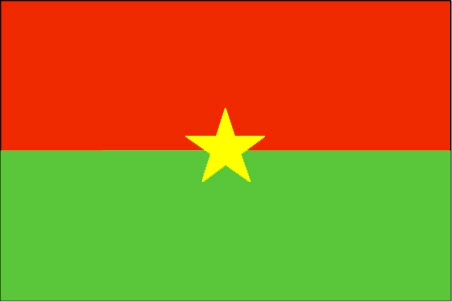 The Burkina Faso flag was officially adopted on August 4, 1984.           The red symbolizes the recent revolution, the green the abundance of natural riches and the yellow star the guiding light of that revolution.
