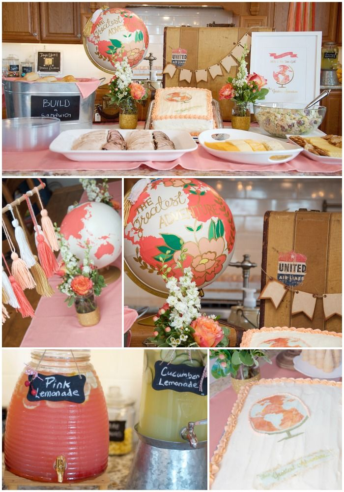"the cutest ""greatest adventure"" travel baby shower in coral and gold. fun DIY globes!"