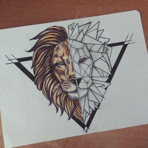 Half-geometric lion head in black triangle frame tattoo design
