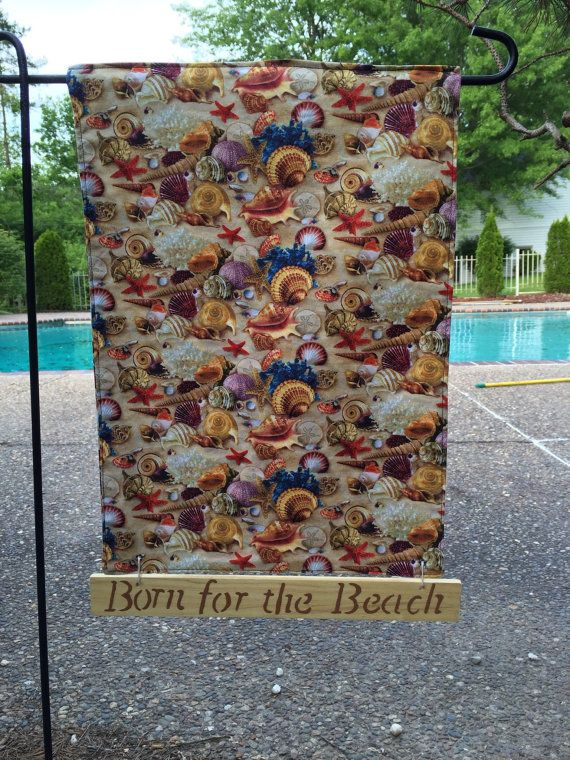 Born for the Beach Flag Seashell Flag Beach by StoneysideTreasures