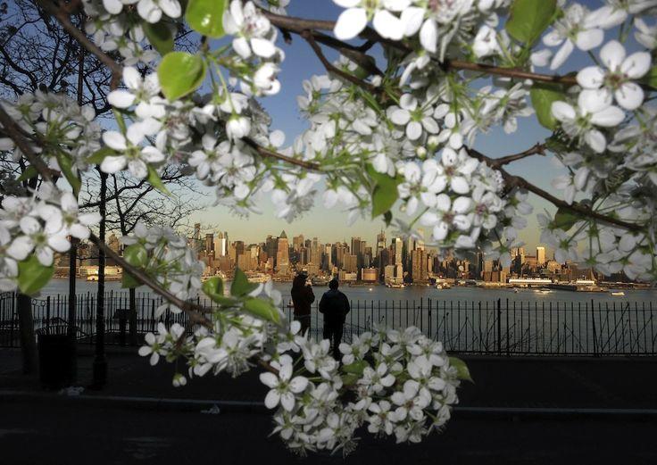 IlPost - 17 aprile 2013: due persone osservano lo skyline di New York da Weehawken, New Jersey (REUTERS/Gary Hershorn)