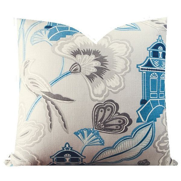 Pillow Cover Floral Pillow Cover Bird Pillow Asian Pillow Pagoda... ($35) ❤ liked on Polyvore featuring home, home decor, throw pillows, blue, decorative pillows, home & living, home décor, flower stem, floral throw pillows and blue home decor