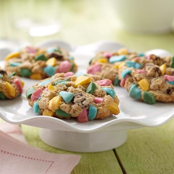 Chocolate chip cookies studded with colorful chunks of Wilton Candy Melts Candy