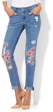 Soho Jeans - Embroidered & Destroyed Boyfriend - Medium Blue Wash