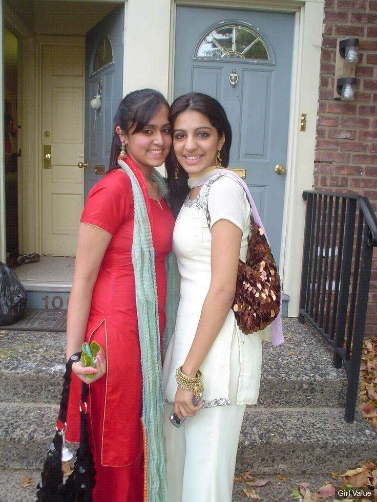 "{""token"":""2255""} - College girls in red and white salwar kameez"