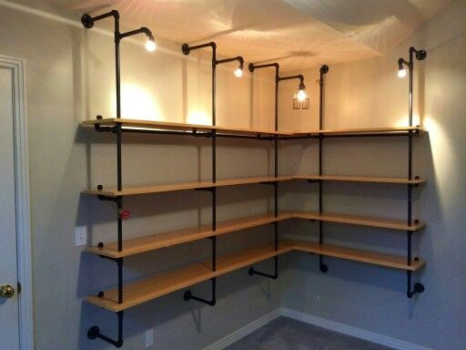 Pipe supported shelving