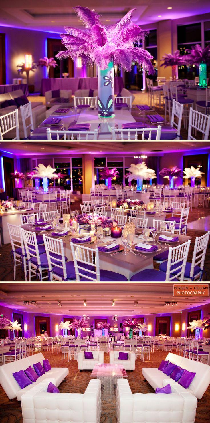 purple party, pretty decor, pretty dresses, pretty food.