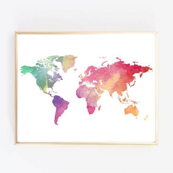 Wall Art Wall Print Watercolor World Map Nursery by PrintMeQuick