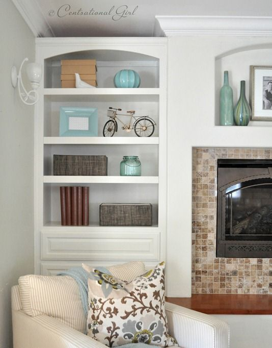 17 best ideas about painted built ins on pinterest built for Bookshelves next to fireplace