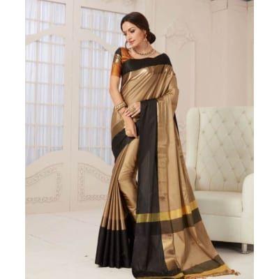 Aangori, Silk Cotton , Saree, Wholesale, Contrast, Border, Pallu, Jacquard, Blouse, Trendzkafe, Manufacturer