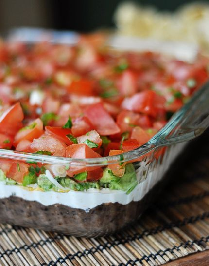 Ultimate 7-Layer Dip (Mels)  parts of the prep for the tomato and guacamole layers need to sit at room temperature for 30 minutes before proceeding with the recipe.   The dip can be tightly covered and refrigerated for up to 24 hours. adapted from Cook's Country/America's Test Kitchen