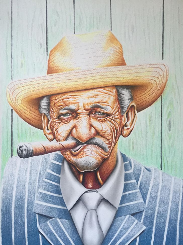 Papa Cubano by JB Vincent A3 Framed / Coloured pencil on paper Original artwork  Limited edition available in A4 - $120.00