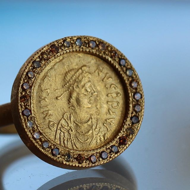 Ancient Byzantine Gold Coin set in #gold and surrounded by #diamonds #KarenLiberman #ancientcoin #coin #ring #byzantine #voiage #patina