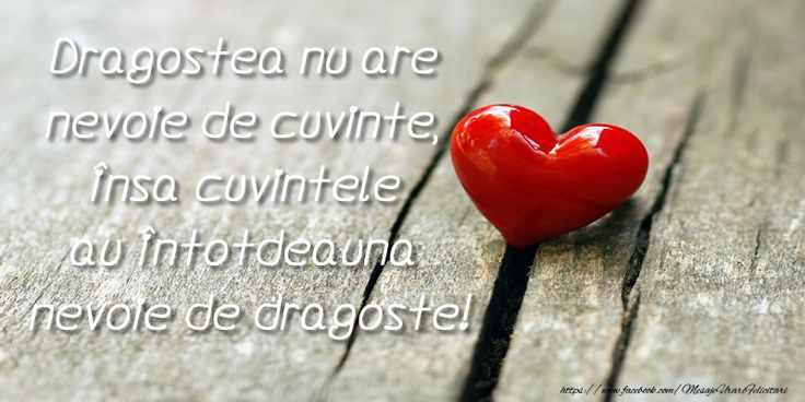 Dragostea nu are  nevoie de cuvinte, insa cuvintele au intotdeauna  nevoie de dragoste!