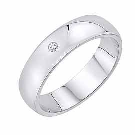 Obrączka Ślubna z diamentem Staviori Obrączka.  1 Diament, szlif brylantowy, masa 0,01 ct., barwa H, czystość SI2.  Białe Złoto 0,585. Szerokość 5 mm. Grubość 1 mm.  Dostępne inne kolory złota.