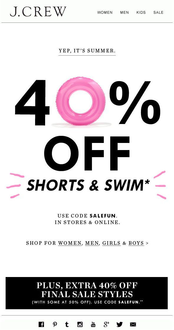J. Crew - Fun Summer Sale Email 2014