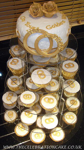Golden Wedding Anniversary cake and cupcakes