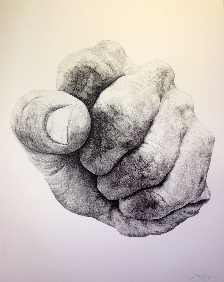 "eatsleepdraw: "" Tension: Fist #1. Ink drawing. """