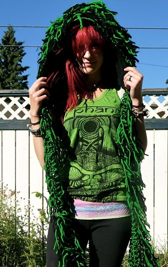 Classic Shamballa hood - black and green colour. From Bolli Imports by Bolli Bear Hoods.