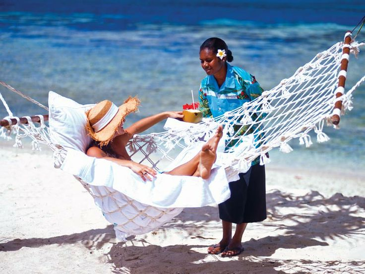 Beach hammock at Breakas Beach Resort, Vanuatu  www.islandescapes.com.au