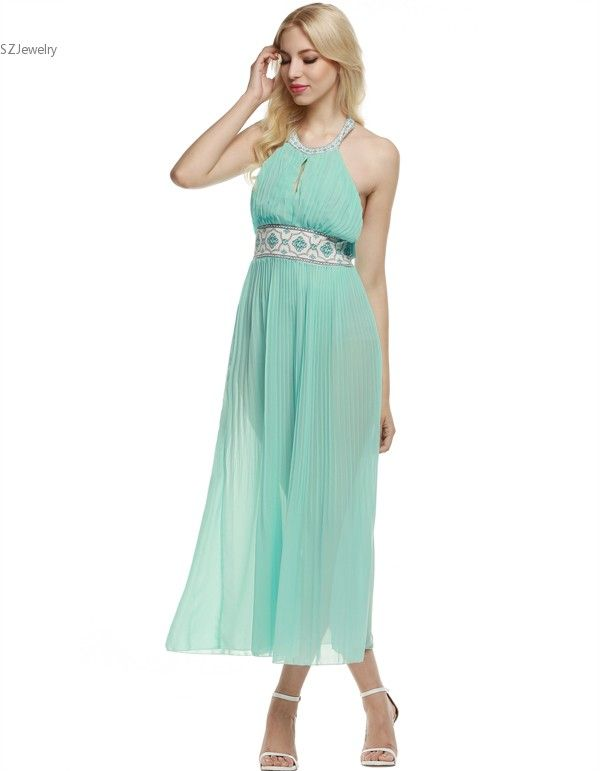 Women Cute Bohenmia Pleated Maxi Chiffon Dress Mint Green Backless Sleeveless Off Shoulder Halter Slim Vestido Beach Party Wear-in Dresses from Women's Clothing & Accessories on Aliexpress.com | Alibaba Group