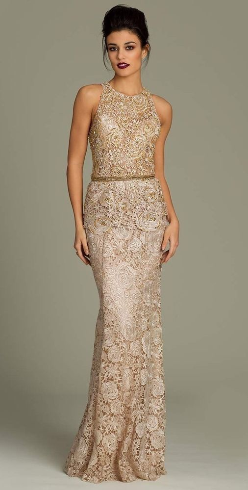 Authentic Jovani 92985 Nude Gold Formal Evening Pageant Gown Dress Size 8 NWT #Jovani #formalgown #Formal