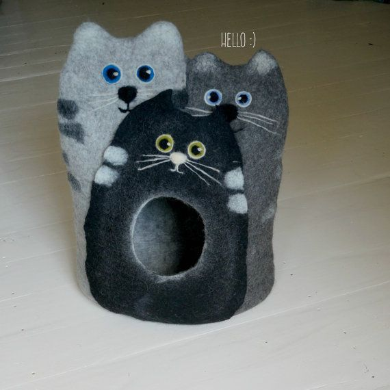 """Cat bed/ cat house/cat cave/felted cat bed - """"Trio""""/Cats/Cat lover gift/Gift for cat lover/Valentines gift"""