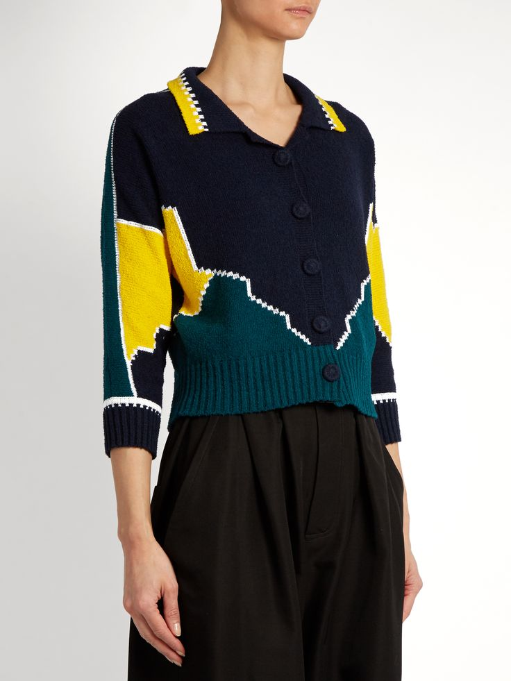 Click here to buy Maison Margiela Long-sleeved cotton intarsia-knit polo shirt at MATCHESFASHION.COM
