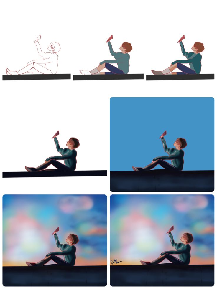 (step-by-step) Sun-set on train #Jhope #bts #bangtan #springday #fanart