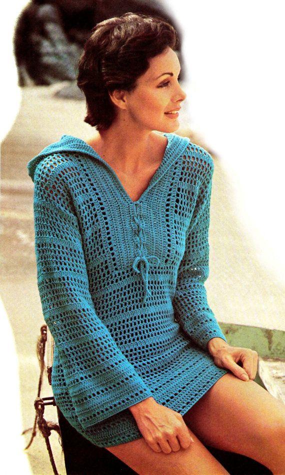 "Vintage 70s Pattern Crochet ""HOODED"" Bikini Cover-Up - PDF Pattern Summer"