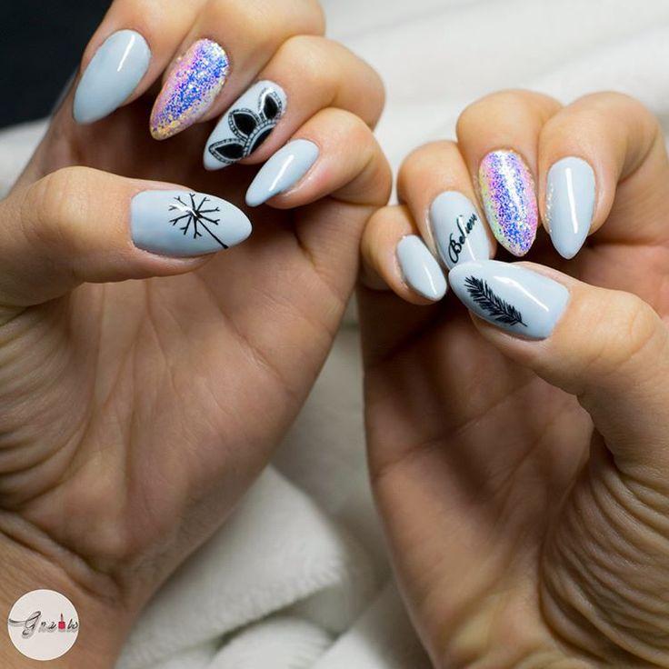 Moja praca :) Indigo, indigo nails, pixel effect, kopciuszek, efekt kopciuszka, gnails, Gnails