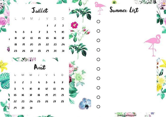 calendrier free printable: Un été d'inspiration tropicale