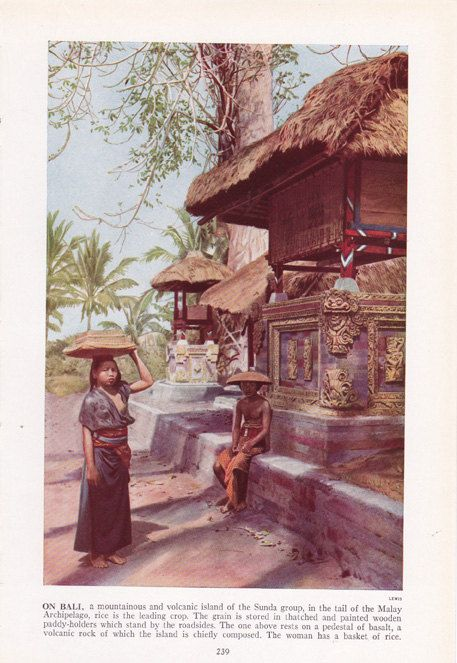 On Bali - vintage illustration - color plate from by route44west, $10.00