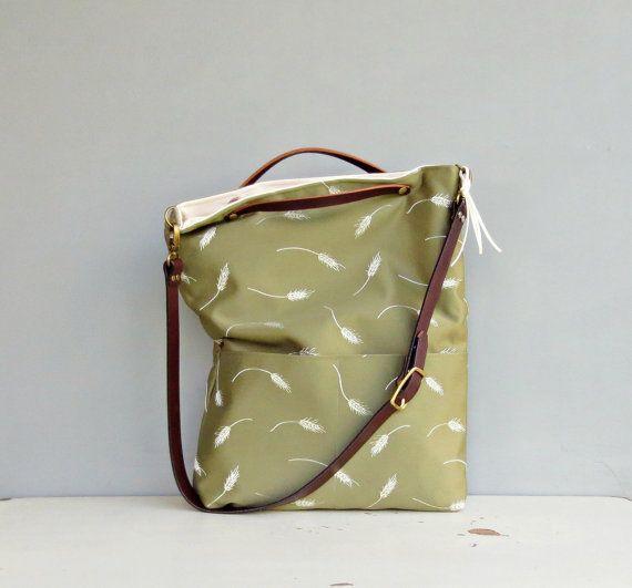 Monedero bolsa de trigo verde, tela y cuero bolso bandolera moderna, además de tamaño, las mujeres monedero, verde oliva bolso, correa de cuero personalizados