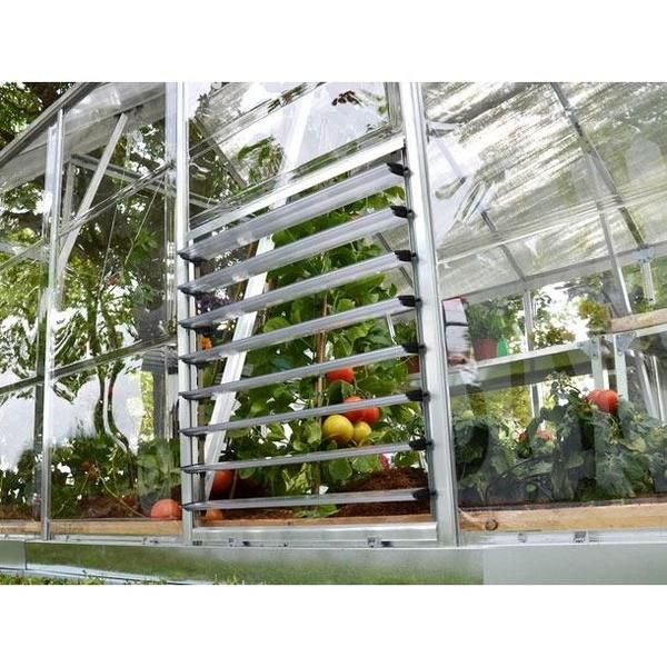 The Side Louver Window was designed to improve the air circulation and help control the temperature and humidity levels in all Palram Americana, Nature Series and Glory greenhouses. The shutters are controlled manually for variable airflow to help aid in cooling on warmer days. When paired with the roof vent, the louver window can provide improved air circulation. Additionally the Side Louver Window can be fitted with Palram's Automatic Louver Opener to provide the ideal airflow into the…