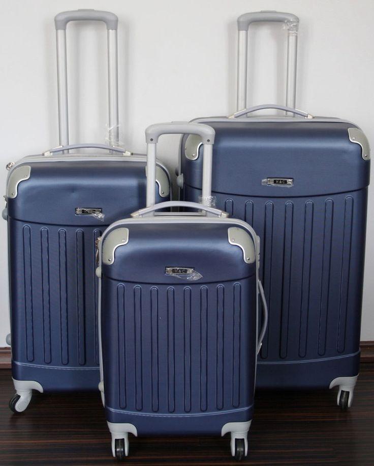 Schalenkoffer Reisekoffer Reisetrolley Koffer 4 Rollen 360° Hartschale Blau