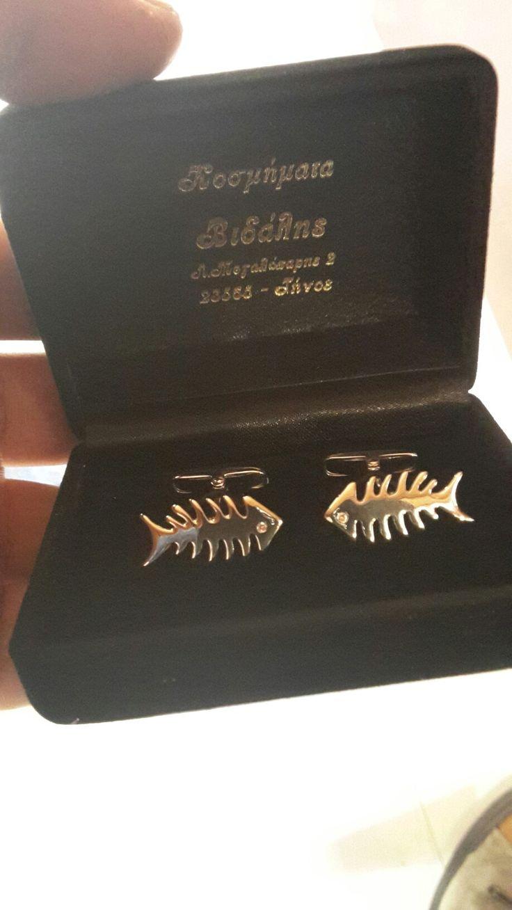 Handmade cufflinks white gold