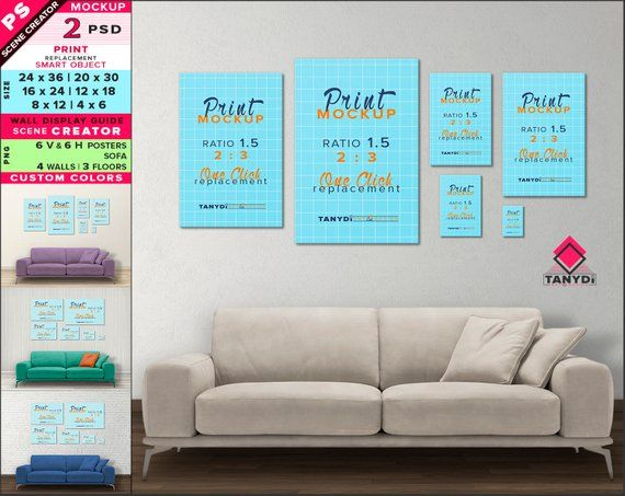 Wall Display Guide 24x36 20x30 16x24 12x18 8x12 4x6 Scene Creator Photoshop Print Mockup Vertical Horizontal Posters Sofa Interior 1 6 Wall Display Frames On Wall Wall Frame Set