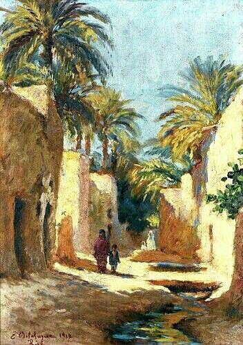 Algérie - Peintre Français   Gustave Achille Guillaumet(1840–1887), huile sur toile, Titre : Personnages dans une rue de Biskra