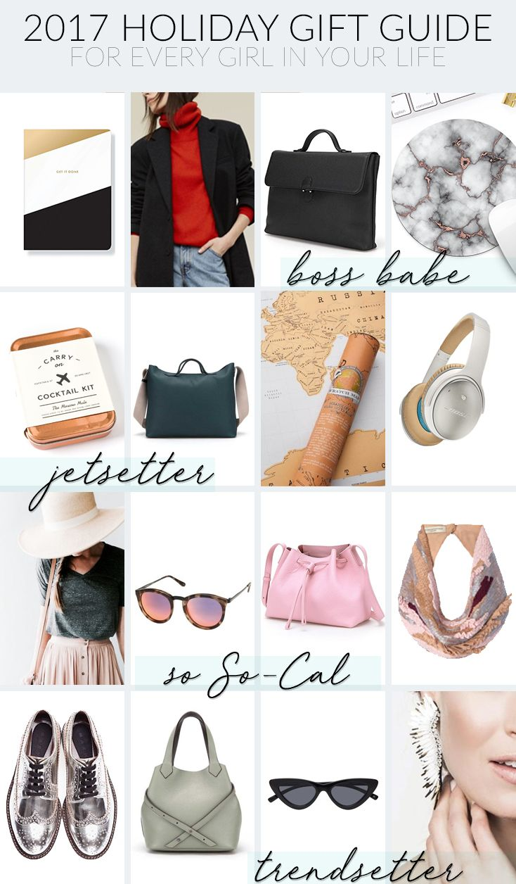 2018 Holiday Gift Guide for every girl on your list! Gift ideas for the #GirlBoss, the Jetsetter, the Boho Chick, and Trendsetter. 1.)  Boss Babe: Main Image - Fringe Studio 'Get It Done' Journal // Everlane Cashmere Chic Turtleneck Sweater // Palla Handbags H-Bag Leather Satchel Briefcase - fits all files, folders, laptops, & tablets // Marble desk mouse pad - Etsy.com  2.) Jetsetter: The Carry On Cocktail Kit The Moscow Mule   // Palla Handbags G-Bag Medium Weekender Tote Bag in Deep Navy…
