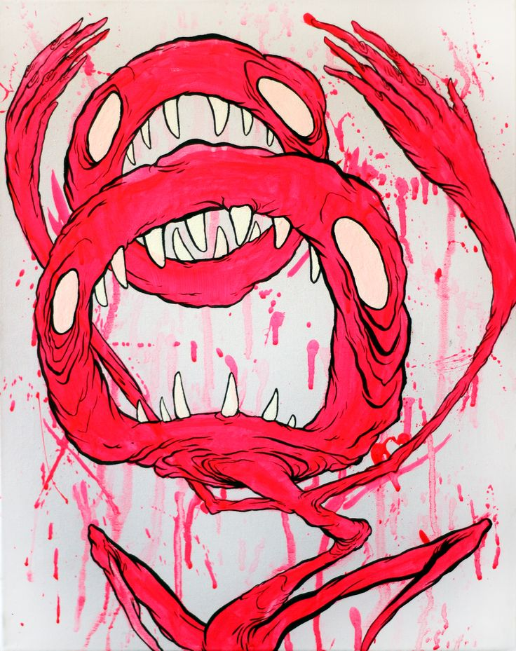 untitled contemporary lowbrow art by glönn . doubble mouthed neon monster on canvas. glows in blacklight