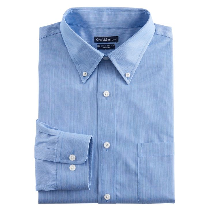 Men's Croft & Barrow® Classic-Fit Easy Care Button-Down Collar Dress Shirt, Blue (Navy)
